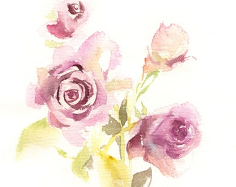 ORIGIANL Watercolour Painting, Roses Painting, Minimalist Roses Illustration, Watercolour Art