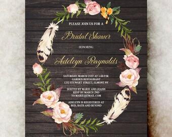 Rustic Bridal shower Invitation printable - wedding shower invitation, couples bridal shower, barn bridal shower, bridal shower invites