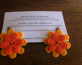 Yellow and Orange Flower Hair Clips
