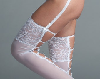 White Thigh High - Thigh High Stockings - Bridal Thigh Highs - Plus Size available