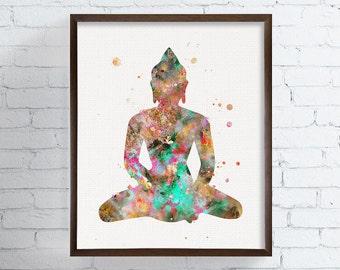Buddha Watercolor - Buddha Print - Buddha Art - Buddha Wall Decor - Buddha Poster - Buddhist Decor, Zen Decor, Spiritual Art, Meditation Art