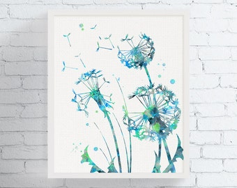 Dandelion Wall Art, Watercolor Dandelion, Dandelion Print, Flower Wall Art, Bedroom Decor, Bathroom Decor, Floral Print, Nature Wall Art