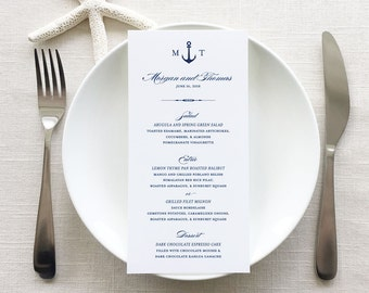 Anchor Wedding Menus, Anchor Monogram Nautical Wedding Reception Menu Cards, Navy Blue Anchor Menu Cards