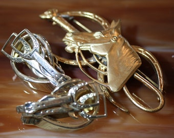 Great Vintage Equestrian Set of Earrings and Pin