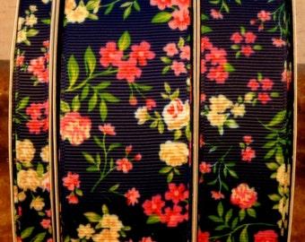"2 Yards 3/8"", 1"" or 1.5"" Navy Blue Summer Rose Flower Print Grosgrain Ribbon"