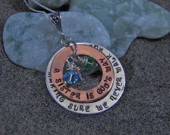 Sisters Necklace in Sterling Silver - A Sister Is God's Way Of Making Sure We Never...