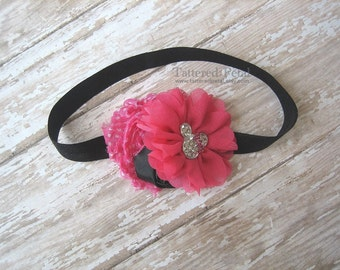 Minnie Mouse headband, Minnie Mouse bow, pink minnie mouse headband, pink and black, Disney headband, hot pink headband, Minnie Mouse clip