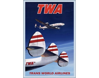 TWA - Trans World Airlines Lockheed Constellation Travel Poster Retro 1950's Plane Art -available in 4 sizes- Print 280