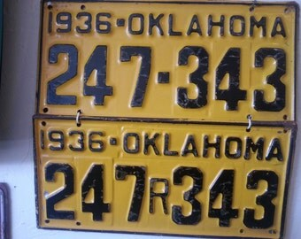1936 Set of Oklahoma License Plates