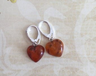 Earrings amber heart and Silver 925