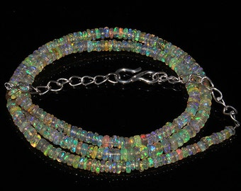 32  Crt Natural Ethiopian Welo Fire Opal Smooth Rondelle Beads Necklace 847
