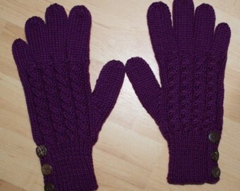 Merino Wool Gloves - Blackcurrant / Purple - Cable Pattern and Buttoned Cuff