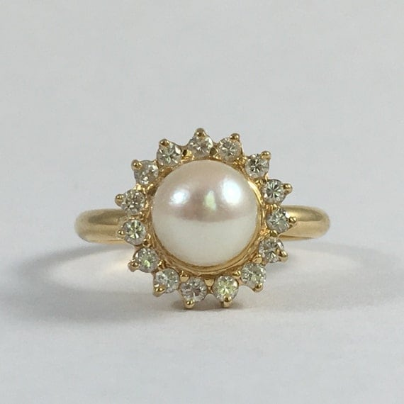 Pearl And Diamond Engagement Rings: Vintage Pearl And Diamond Halo Ring. 14k Yellow Gold. Estate