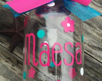 Personalized piggy bank - gifts for baby girls - mason jar banks - custom baby gifts - nursery decor - baby girl gifts - coin banks - custom