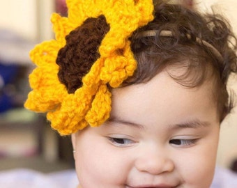 Crochet sunflower headband, crochet sunflower nylon headband, one size fits all.