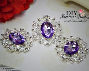 Large Lavender Purple Rhinestone Buttons Crystal Buttons Flatback Embellishment For Shoe Clips, Headbands Bows flower centers 3pc 35mm N102