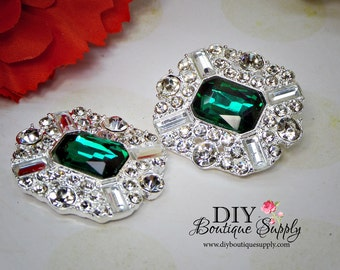 NEW Larger size Emerald Green Crystal Buttons Rhinestone Buttons  Flatback Embellishment For Shoe Clips Bows flower centers 2pc 34x30mm N112