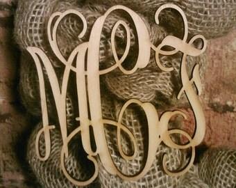 5 inch Wooden Laser Cut Vine Monogram