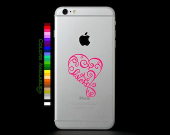 Sisters Heart Phone Decal