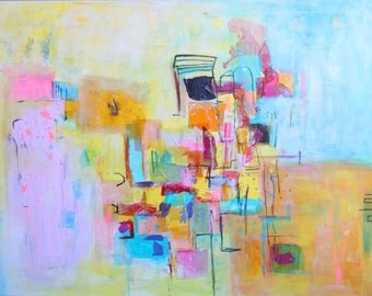 Picture Art Print modern, Abstract Print, 5x5 to 30x40, pink, lime, aqua