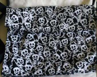 Happy skeleton damask bat reversible purse