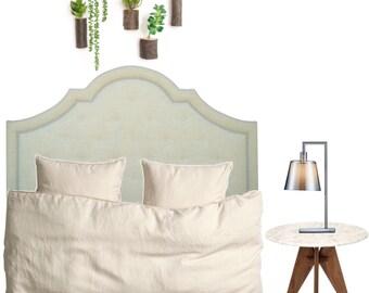 """Light Green Linen """"Arianna"""" Upholstered Headboard"""