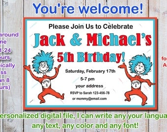 Dr Seuss Birthday Invitation, thing 1 and thing 2 Birthday Invitation, twins birthday invitation - Digital