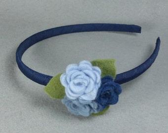 Felt Flower Headband Made-To-Order, Blue Felt Headband, Hard Headband, Girls Headband, Baby Headband, Womens Headband, Head Band