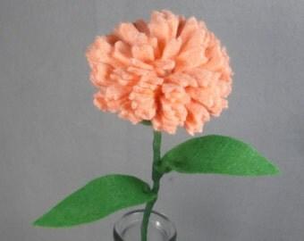 Orange Felt Carnation Stem - Artificial Flower - Fake Flower - Felt Flower - Felt Carnation - Fake Carnation - Artificial Carnation