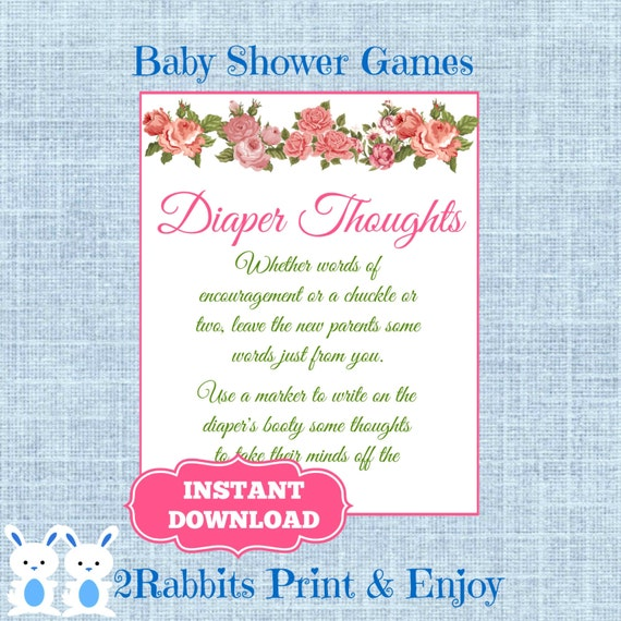 Vintage Floral Diaper Thoughts Baby Shower Sign-Write On