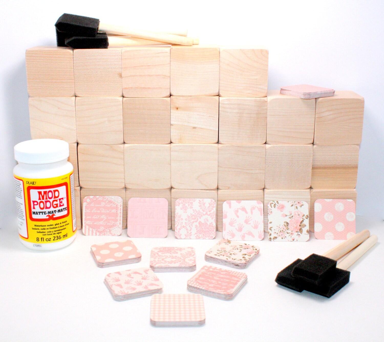 Baby shower craft shabby chic baby blocks diy wood block for Child craft wooden blocks
