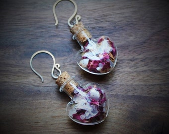 Love Spell Apothecary Earrings with Rose Quartz, Pink Opal and Rose Petals, Heart, Jar, Herbalism, Love, Magic, Heart Chakra, Aphrodisiac