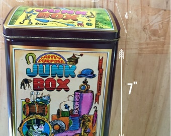 "1970s ""Junk Box"" Tin Canister"