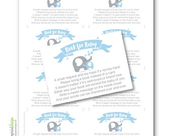 Elephant Book for Baby Boy Blue - Please Bring a Book Instead of a Card Insert DIY Printable INSTANT DOWNLOAD (Digital File Jpeg and Pdf)