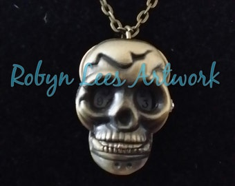 Bronze Skull Quartz Pocket Watch Necklace on Chain or Black Faux Suede Cord