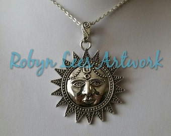 Large Tribal Patterned Smiling Sun with Face Necklace on Silver Crossed Chain, Polka Dot Pattern, Nature