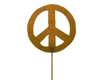 Peace Sign Garden Stake, Yard Art GS13