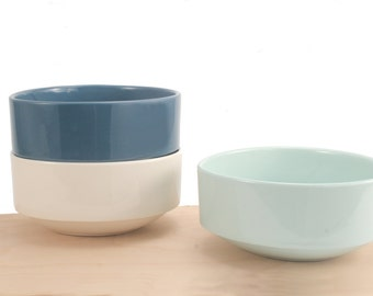 slip-cast porcelain asymmetrical stacking bowl