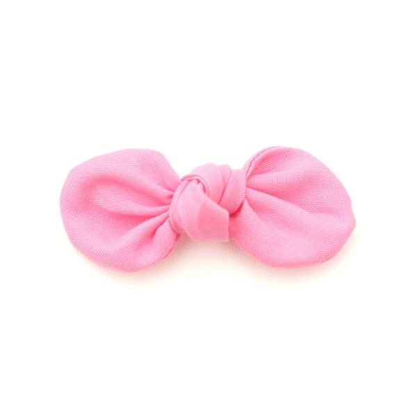 Bubble Gum Fabric Bow : Knotty Gal Style on a Clip or Nylon Headband  // Machine Washable
