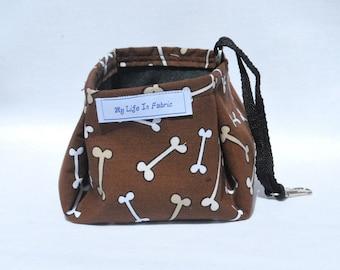 Portable Packable Collapsible Pet Dish Water Bowl Brown Dog Bones