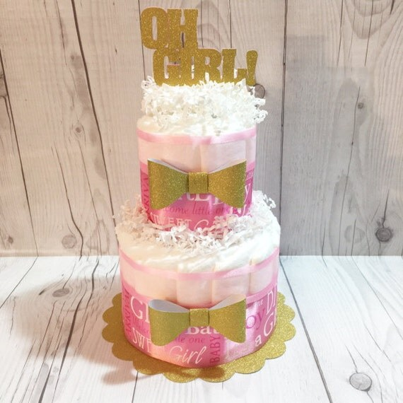 Oh Girl Diaper Cake Centerpiece Kit Girl Baby by ChicBabyCakes
