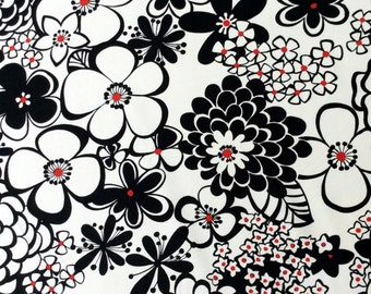 Fabric, Satchi, Black White Red Floral, Alexander Henry, By the Yard