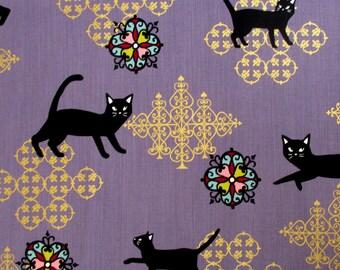 Fabric, Black Cats on Purple, Neko ll Japanese Fabric, By The Yard