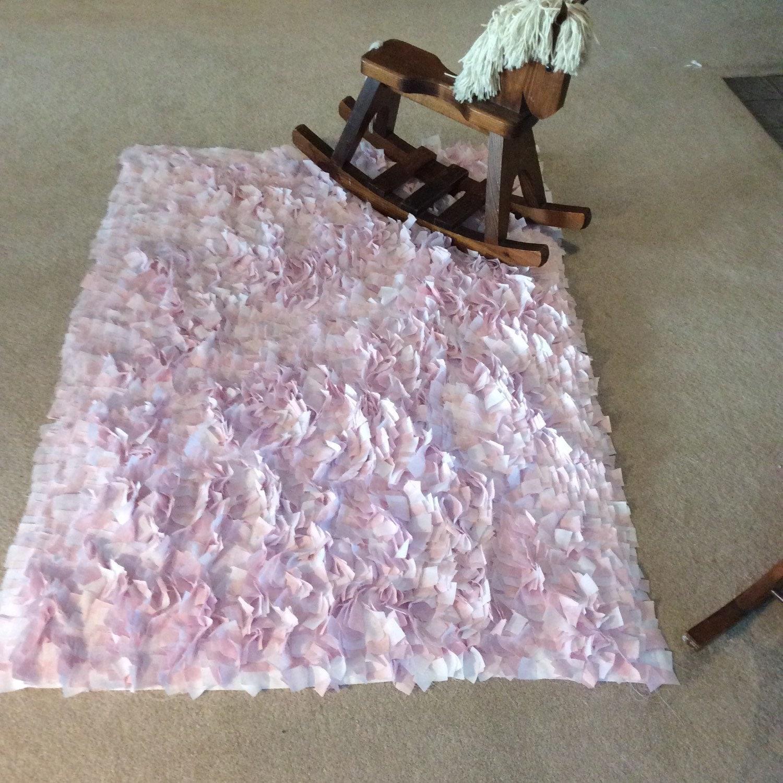 Rag Rug Baby Pink & White Boho Chic Area Rug Shag Rugs