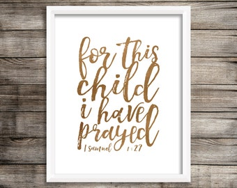 For This Child I Have Prayed - Watercolor Printable (Digital Print File)