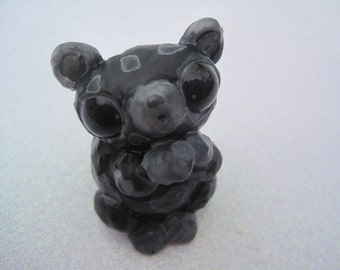 Cute Creature Black And Grey Mouse Sculpture Clay Mice