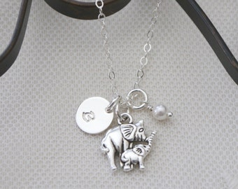 Gifts for New Mothers, Baby Elephant Necklace, New Baby Gifts, Personalized Mommy Baby Elephant Necklace, Letter Birthstone, Dainty, Custom