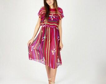 80's Sheer Dress // Summer dress, spring dress, secretary dress, floral dress, striped dress, sheer dress, vintage 80s 1980s,