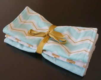 Chenille Burp Cloths in Blue and Gold