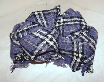 Becky Bows ~OOAK Barrette Hand crafted huge Scarf BIG hair bow Women or Girls Purple plaid